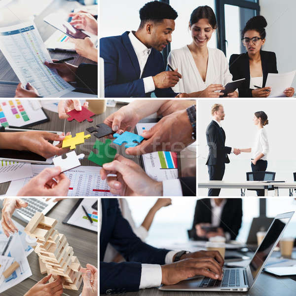 Business life collage. Concept of teamwork, partnership and startup Stock photo © alphaspirit