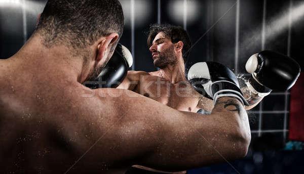 Boksör rakip boks rekabet güçlü eğitim Stok fotoğraf © alphaspirit
