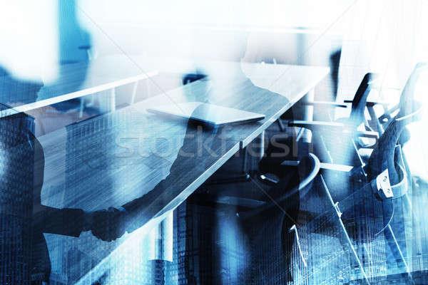 Absztrakt üzlet kézfogás tárgyalóterem együttműködés csapatmunka Stock fotó © alphaspirit