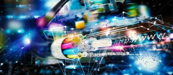 高速 インターネット 接続 オプティカル 繊維 光 ストックフォト © alphaspirit