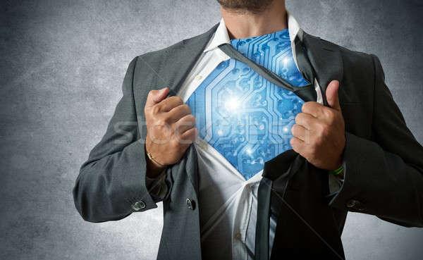 Technológia szuperhős számítógép áramkör üzlet munkás Stock fotó © alphaspirit