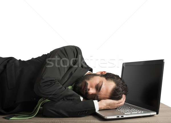 Workload businessman sleeping Stock photo © alphaspirit