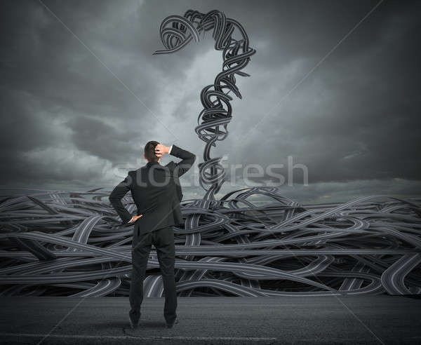 Stock photo: Difficult choices of a businessman due to crisis. 3D Rendering