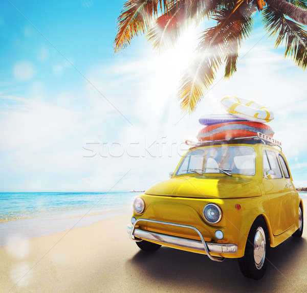 Start zomertijd vakantie oude auto strand 3D Stockfoto © alphaspirit