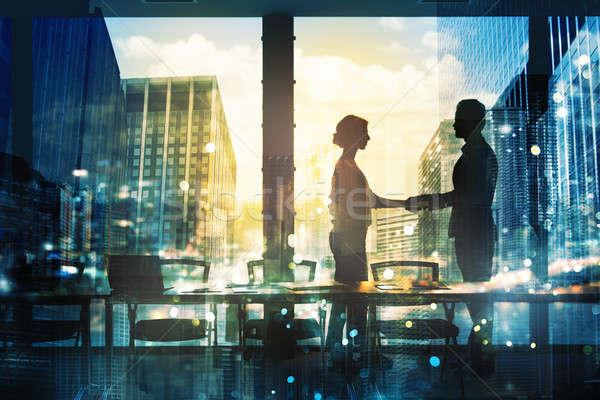ハンドシェーク 2 ビジネスパーソン オフィス パートナーシップ チームワーク ストックフォト © alphaspirit