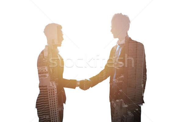 Handshake dwa biuro współpraca ekspozycja Zdjęcia stock © alphaspirit