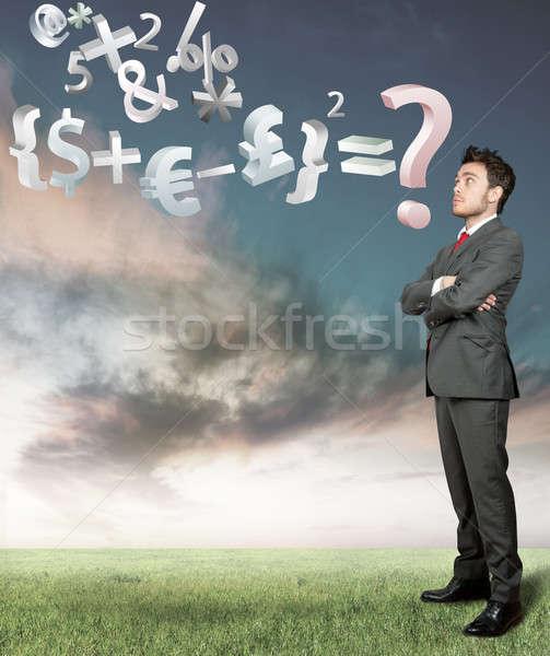 Economía problema empresario hombre verde mercado Foto stock © alphaspirit