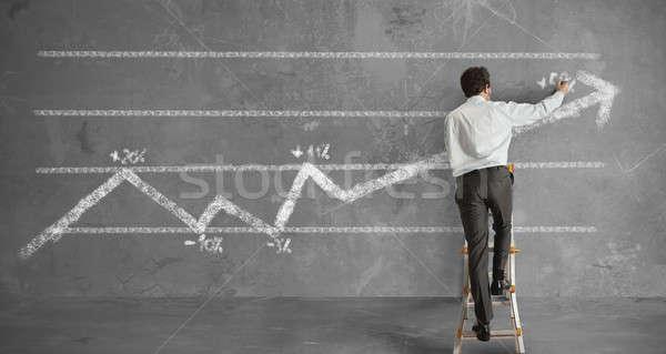 üzletember statisztika trend vonal toll háttér Stock fotó © alphaspirit