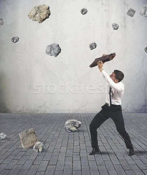 シェルター 嵐 危機 ビジネスマン ビジネス 作業 ストックフォト © alphaspirit