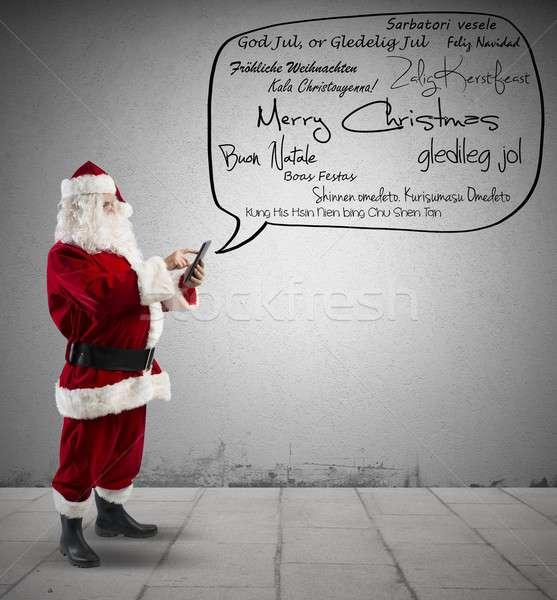 Stockfoto: Kerstman · vrolijk · christmas · bericht · taal