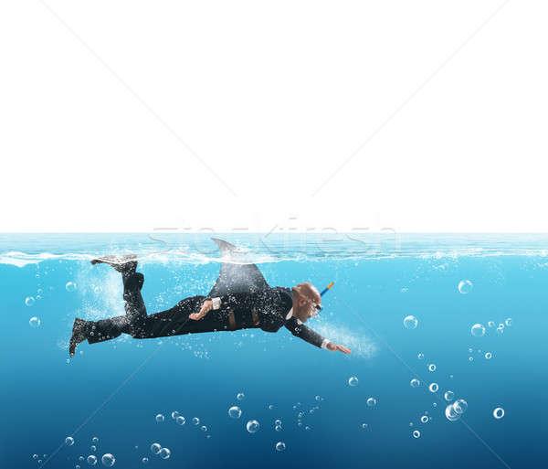Haai zakenman vin werknemer financieren macht Stockfoto © alphaspirit