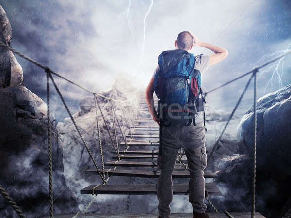3D Rendering of explorer on unstable bridge Stock photo © alphaspirit