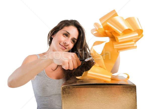 Karácsony ajándékok lány íj nagy ajándék doboz Stock fotó © alphaspirit