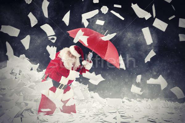 Stock fotó: Mikulás · vs · levelek · ajándékok · 3D · renderelt · kép
