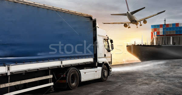 Truck, aircraft and cargo ship ready to start to deliver Stock photo © alphaspirit