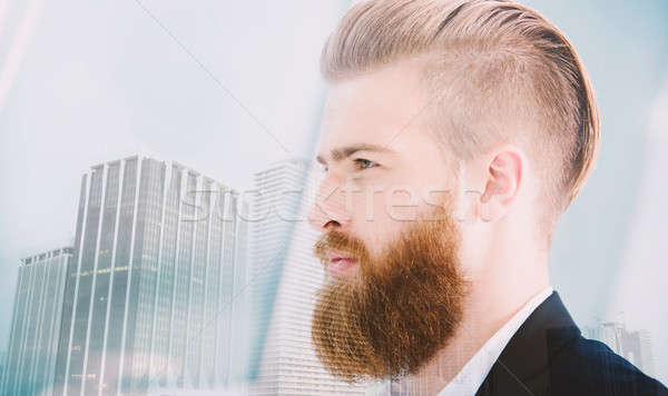 Businessman looks far for the future. Concept of innovation and startup. double exposure Stock photo © alphaspirit