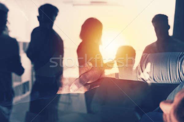 Biuro zespołowej współpraca podwoić ekspozycja Zdjęcia stock © alphaspirit