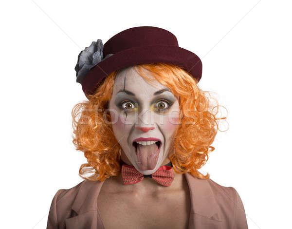 Funny mueca payaso nina lengua fuera Foto stock © alphaspirit