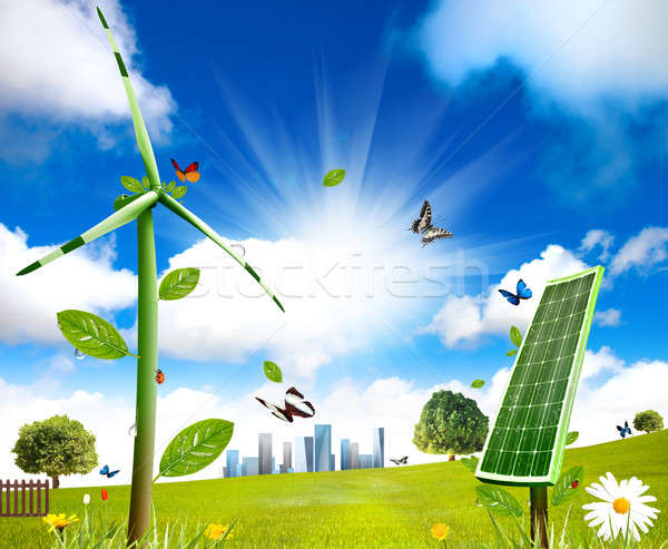 Wind turbine and solar cell grows Stock photo © alphaspirit