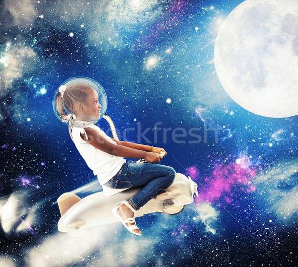 Little girl astronaut Stock photo © alphaspirit