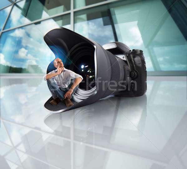 Profi fotós kamera széles látószögű lencse munka Stock fotó © alphaspirit