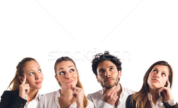 Nadenkend uitdrukkingen vrouw man collage stress Stockfoto © alphaspirit