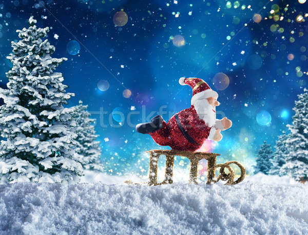 марионеточного Дед Мороз снега Cute сани звездой Сток-фото © alphaspirit