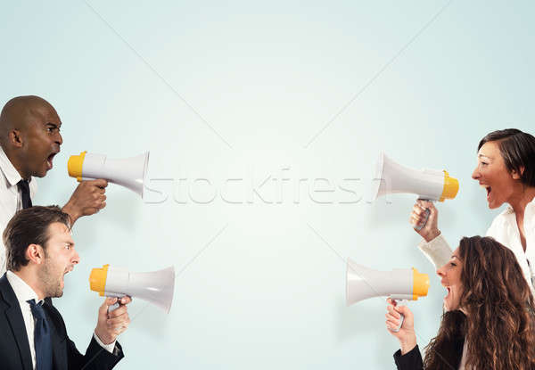 Stress concept with screaming businesspeople. men versus women Stock photo © alphaspirit