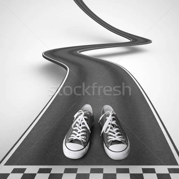 Shoes ready to start along a winding road. 3D Rendering Stock photo © alphaspirit