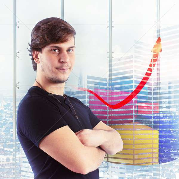 Boy satisfied with financial and economic growth Stock photo © alphaspirit