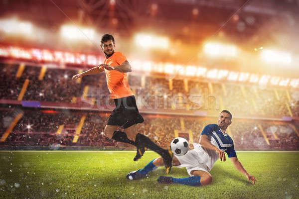 Voetbal conflict scène spelers stadion voetbal Stockfoto © alphaspirit
