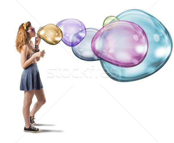 Colorful soap bubbles Stock photo © alphaspirit
