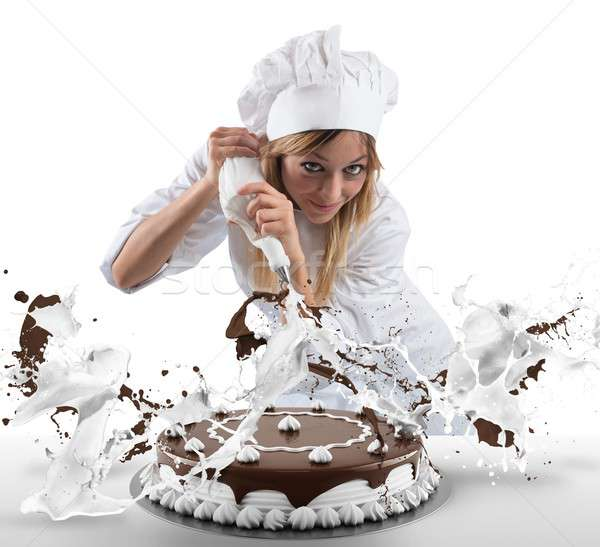ペストリー 調理 ケーキ クリーム チョコレート 幸せ ストックフォト © alphaspirit