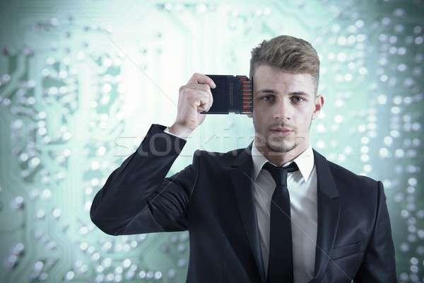 ビジネスマン メモリ アップグレード ビジネス 頭 マネージャ ストックフォト © alphaspirit