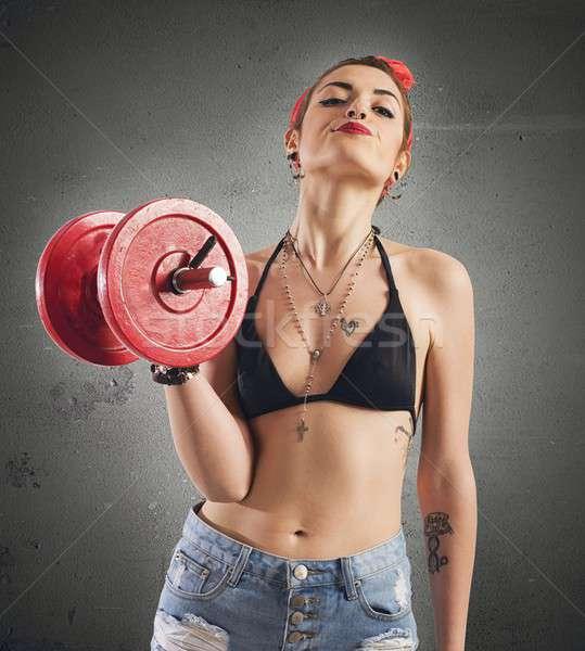 спортзал pinup девушки татуировка веса Сток-фото © alphaspirit