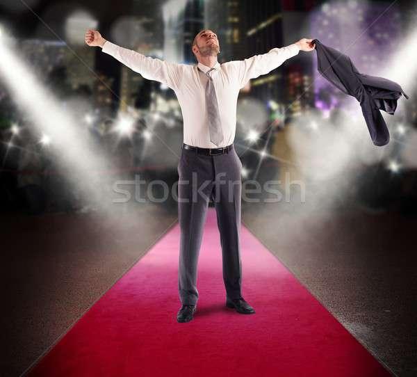 слава успешный человека победителем бизнесмен красный ковер Сток-фото © alphaspirit
