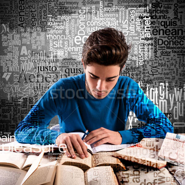 Boy focused while studying Stock photo © alphaspirit