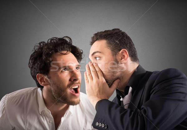 Tajne plotka człowiek mówić ucha inny Zdjęcia stock © alphaspirit
