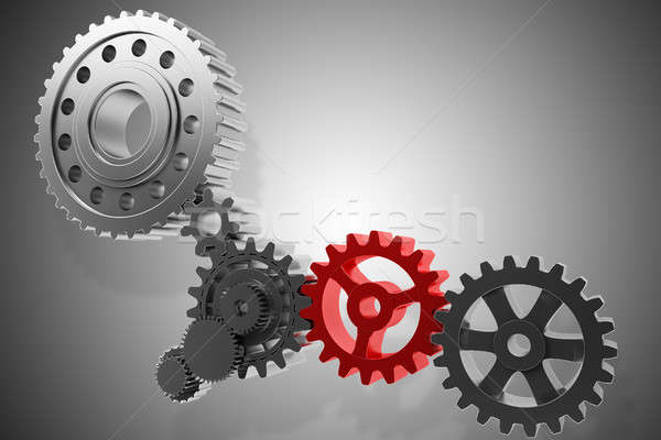 3D Rendering gears mechanism Stock photo © alphaspirit
