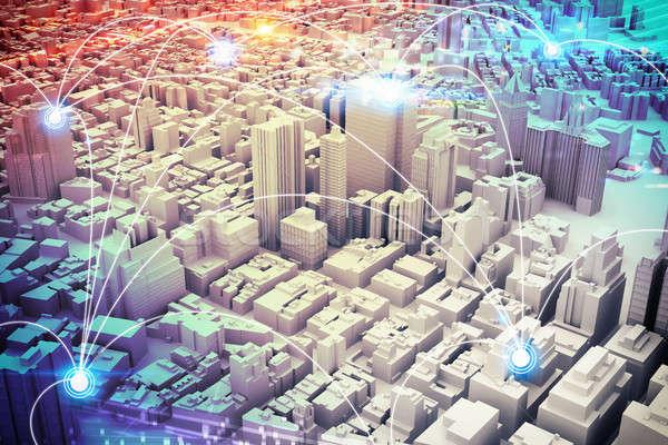 футуристический город видение 3D Cityscape Сток-фото © alphaspirit