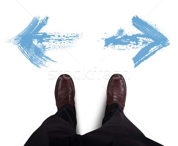 Opciones empresario blanco flecha hombre trabajador Foto stock © alphaspirit