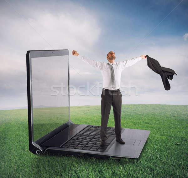 Stock fotó: Technológia · függőség · üzletember · szabad · függés · számítógépek