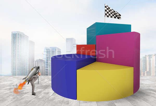 Stock fotó: Elhatározás · erő · üzletember · rakéta · elér · zászló
