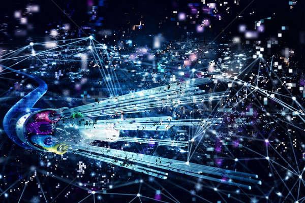 Kapcsolat optikai rost gyors internet 3d render Stock fotó © alphaspirit