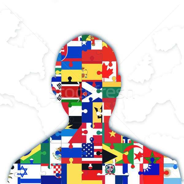 интеграция различный флагами индивидуальный символ человека Сток-фото © alphaspirit