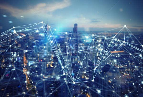 Gyors kapcsolat város absztrakt technológia internet Stock fotó © alphaspirit
