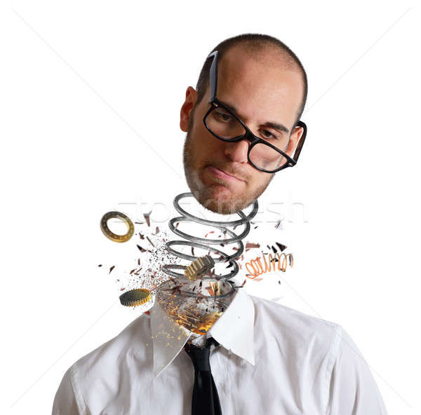 Stress and overwork concept. Explosion of a head of a businessman Stock photo © alphaspirit