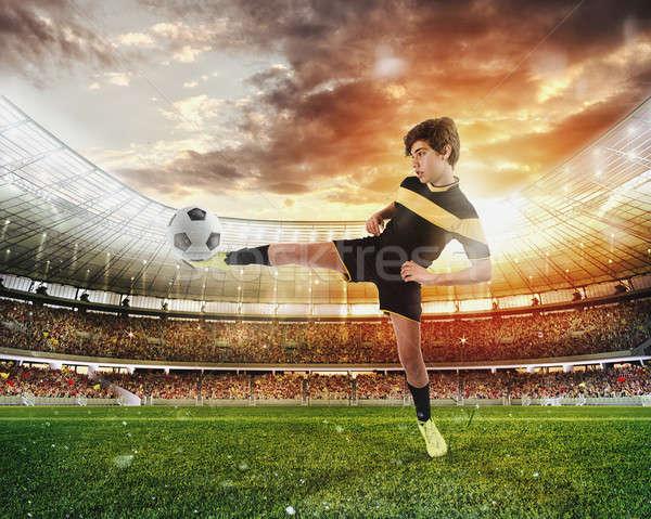 Futball jelenet versenyző fiatal játékosok stadion Stock fotó © alphaspirit