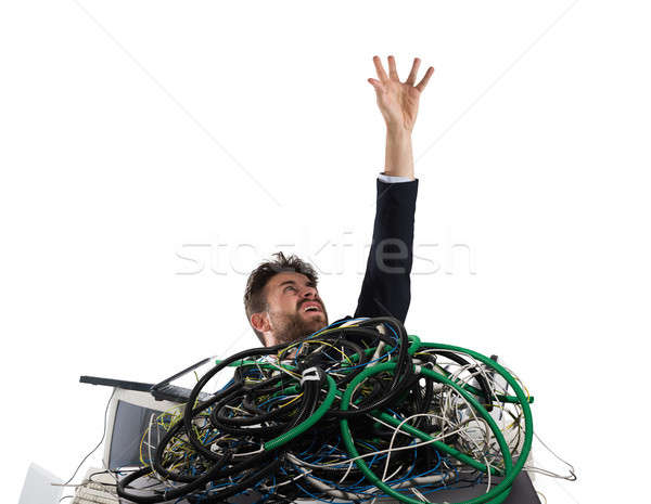 Businessman trapped by cables. concept of stress and overwork Stock photo © alphaspirit