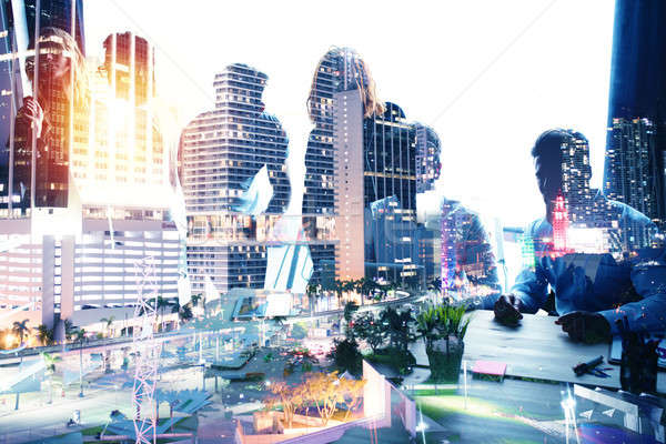 Group of business partner looking for the future. Concept of corporate and startup. double exposure Stock photo © alphaspirit